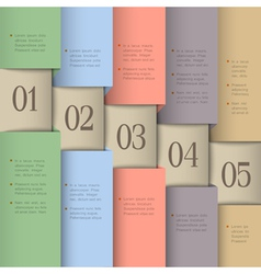 Paper numbered banners in pastel colors vector