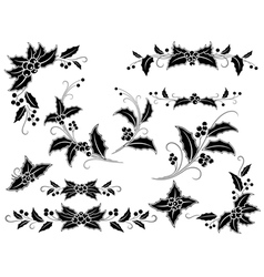 Black and white christmas holly decoration vector