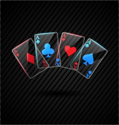 Four glass poker aces playing cards vector