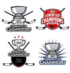 Ice hockey cup champions labels and emblems vector