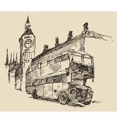 Street london england bus big ben vintage sketch vector