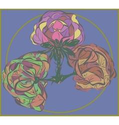 Three flower on purple background vector