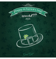 Green card for st patricks day with hat vector