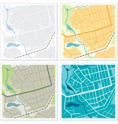 Set of 4 abstract maps vector