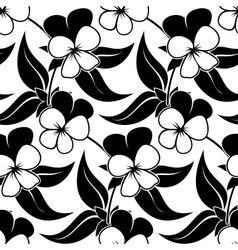 Pansy floral black isolated seamless background vector