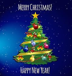 Christmas tree with toys balls ribbon and garland vector