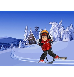 Cartoon skier in the snowy mountains with a hut vector