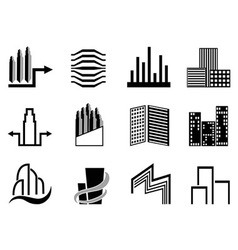 Real estate and city buildings symbol vector