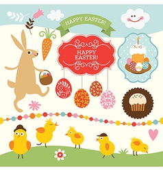 Set of easter elements vector
