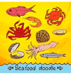 Scribble series seafood set vector