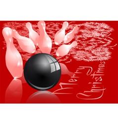 Christmas bowling strike vector
