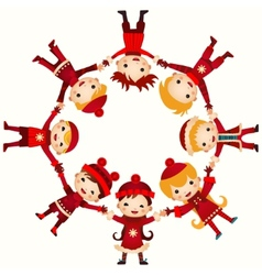 Christmas children in circle isolated on white vector