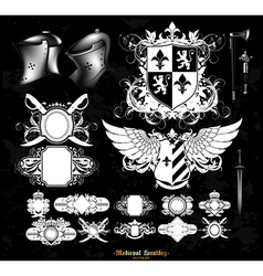 Set of medieval heraldry vector