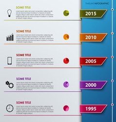 Time line info graphic with colored tabs template vector