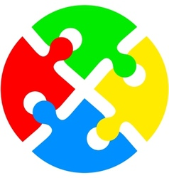 Jigsaw puzzle in the form of push the colored vector