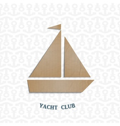 Yacht cut out of cardboard vector