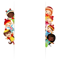 Frame with multinational children in bright vector