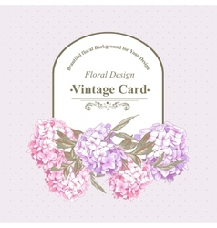 Vintage greeting card with hydrangea and peonies vector