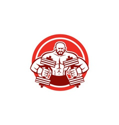 Bodybuilder lifting dumbbell circle retro vector