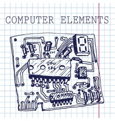 Hand draw computer circuit board on paper vector