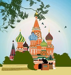Domes of the famous head of st basils cathedral on vector