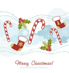 Ornate christmas card with xmas stocking vector