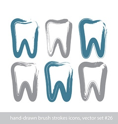 Set of stroke hand-drawn simple tooth icons real vector
