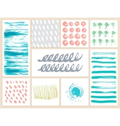 Set of creative cards with blots and scribbles vector