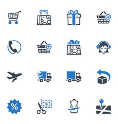 Shopping and e-commerce icons set 1 - blue series vector