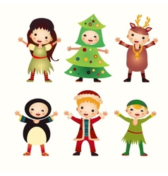 Children in costumes isolated on white background vector