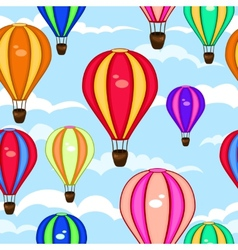 Colorful seamless pattern of hot air balloons vector