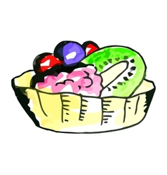 Cake with fruits vector