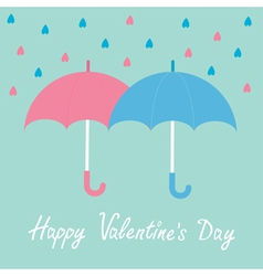 Pink and blue umbrellas rain happy valentines day vector