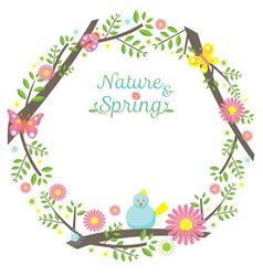 Spring season icons wreath vector