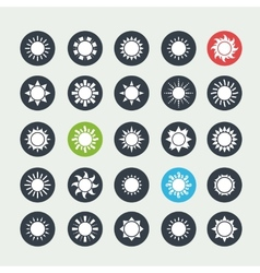 White sun icons set vector