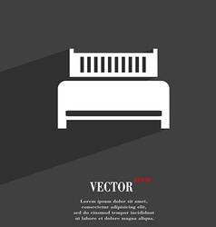Hotel bed icon symbol flat modern web design with vector