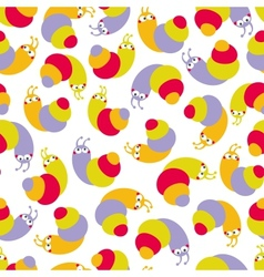 Cute seamless pattern with small snails vector