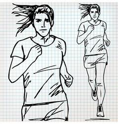Female runner sketch vector