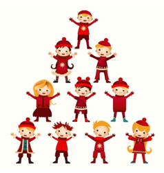 Christmas kids tree isolated on white vector