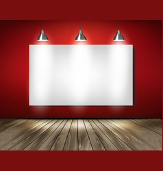 Red room with spotlights and wooden floor vector