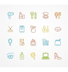 Beauty outline icon set vector