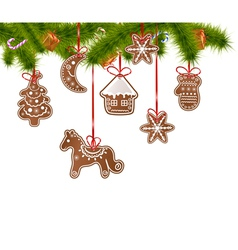 Christmas gingerbreads on a christmas tree vector