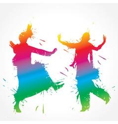Colorful bhangra and gidda dancer vector