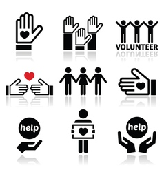 Volunteer people helping or giving concept icons vector