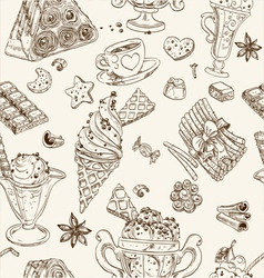Seamless pattern of candy and ice cream vector