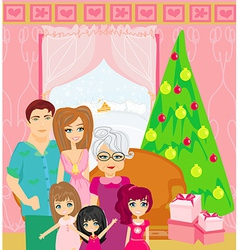 Family christmas at home vector