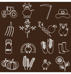 Farm white and brown simple outline icons set vector