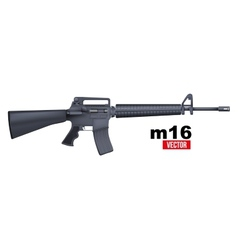Realistic m16 rifle isolated on a white vector
