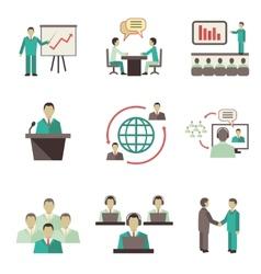 Meet people online icons set vector