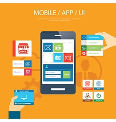 Mobile app and ui element flat design vector